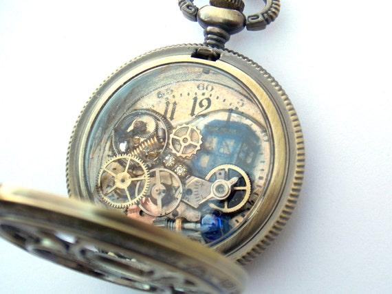 Doctor who pocket watch necklace internal vortex for Vortix watches