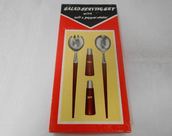 Retro Vintage MCM Salad Server Set with Salt and Pepper Timber and Stainless Steel Boxed NOS 1970's  #10113