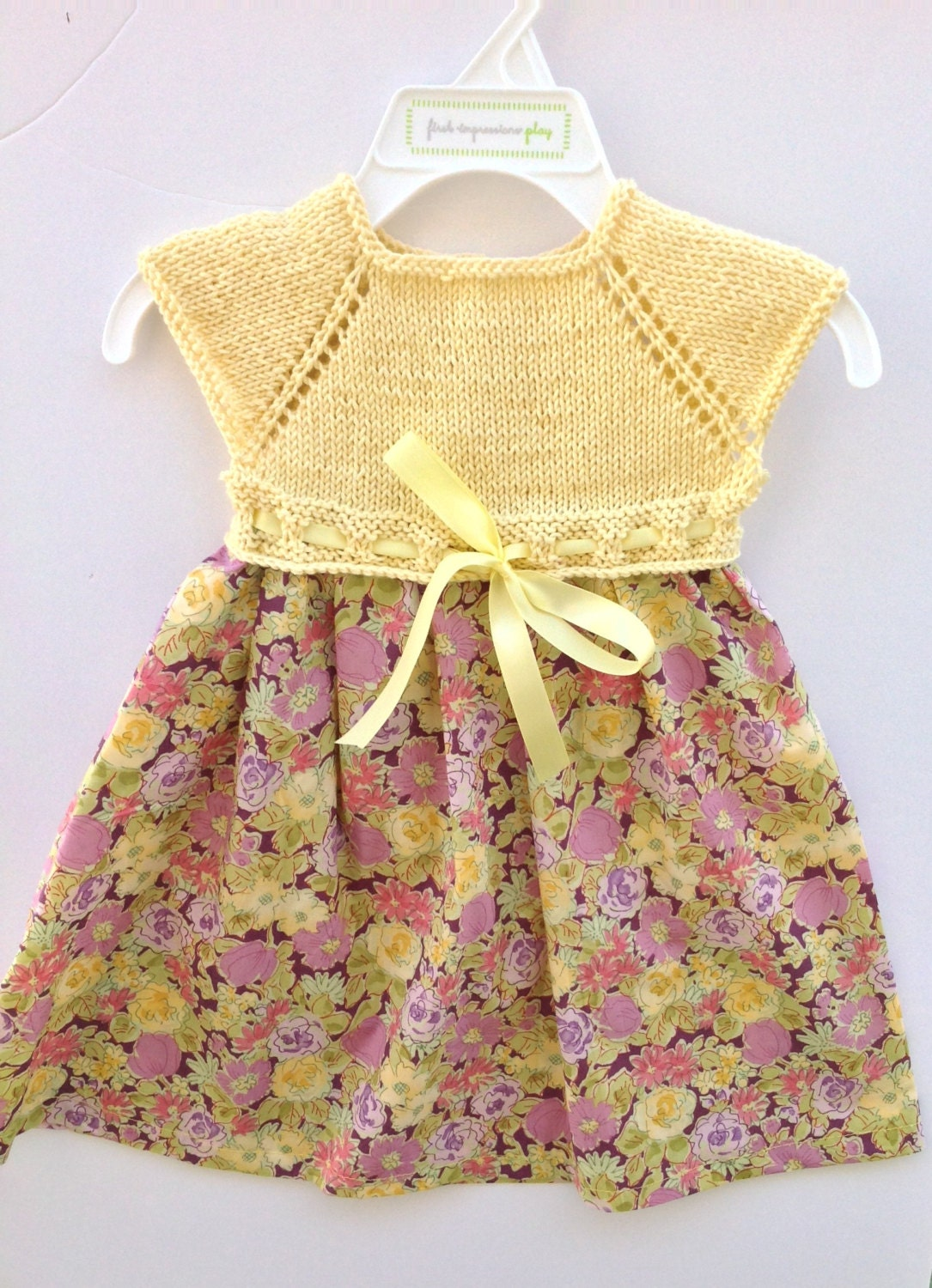 Knit baby dress knit and fabric baby dress knit top floral