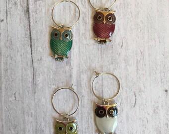 Wine glass charms, owl wine glass charms