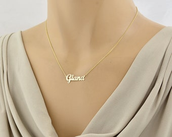 Dainty Script Name Necklace, Solid Gold 1 Inch Personalized Pendant Laser Cut Fine Jewelry GC52