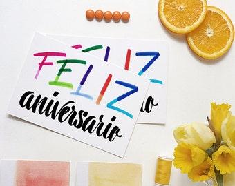feliz aniversario card   happy anniversary card   spanish   rainbow card   for boyfriend   for husband   for wife   for girlfriend