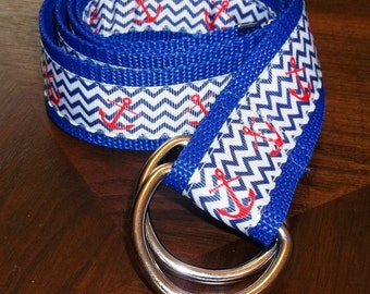 Nautical Adjustable Sailing Belt with Anchor Design - Red, Blue and White - For Women