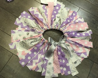 pink lavender and silver fabric tutu, pink scrap tutu