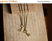Valentines Sale Best Friend Necklace for 2, BFF Necklace, Matching Necklaces, Friendship Necklaces for 2,Gold Skeleton Key Necklace,Key To M