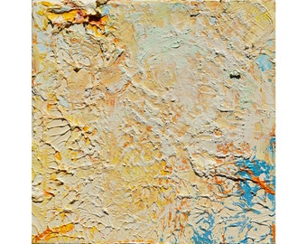 Oil Painting. Abstract art-8x8in; 20x20cm-Happy Tiles–Late - on gallery stretched canvas.no need for frame.wall art.colorful.modern.impasto