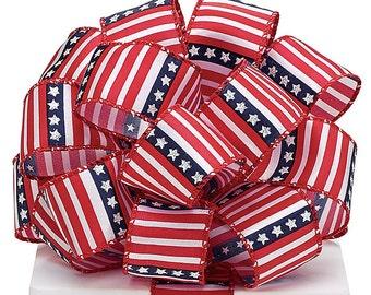 "New 5 yards 4th July Ribbon, Wired July 4th Ribbon, Stars & Stripes Ribbon 1-1/2"""