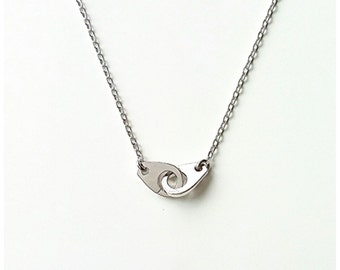 925/000 Silver handcuff necklace, silver necklace solid interlocking handcuffs - handcuffs 925 silver sterling necklace