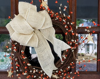 White and Orange Fall Wreath with Burlap Bow and Stars