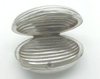 Vintage Sterling Silver Walnut Shape Pill Box circa 1930s