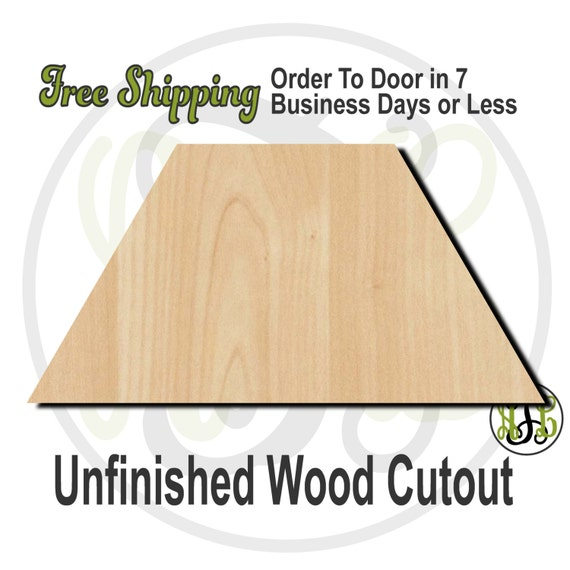"""Trapezoid- 2"""" to 6"""" Minis- 40047- Small Wood Cutout, unfinished, wood cutout, wood craft, laser cut shape, wood cut out, ornament"""