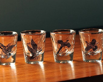 Vintage Shot Glasses with Game Birds and Silver Rim / Barware / Canvasback / Canada Goose / Ring Neck Pheasant / Grouse