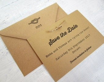 Tying the knot save the date card with twine/ rustic / kraft card /wedding invitation