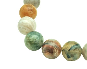 Round Natural Bamboo Leaf Agate Beads Strand 6∼10mm Bamboo Beads Bamboo Agate Strand Genuine Bamboo Agate Bamboo Beads Strand Genuine