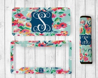 Monogrammed License Plate, License Plate and License Frame, Monogram Seatbelt Cover, Monogram License Frame, Personalized Car Accessories