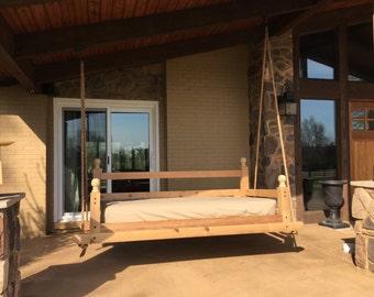 Handcrafted Cedar Porch Swing Bed