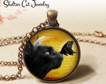 "Black Cat and Butterfly Necklace - 1-1/4"" Circle Pendant or Key Ring - Wearable Art Photo - Curious Cat, Animal, Nature Jewelry, Cat Lover"