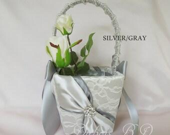 Flower girl basket, Silver and Gray flower girl basket, Wedding basket, Silver wedding basket, Lace flower girl basket, wedding decoration