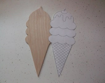"""Ice Cream Cone, Wood Ice Cream Cone, Birthday Parties, Summer Fun, Ice Cream, Brownie Troops, Girl Scouts, Pool Parties - 7"""" x 3 1/2"""""""