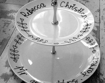 Personalised 2 tier cake stand perfect for a wedding or anniversary gift