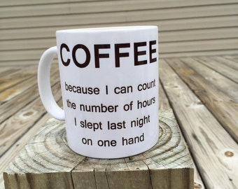 Coffee: Because I can count the number of hours I slept on one hand - Coffee Mug