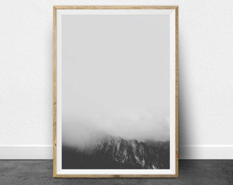 Black and White Print, Black and White Photography, Minimalist Wall Art, Mountain Print, Mountain Wall Art, Minimalist Art, Printable Art