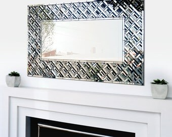 "Handmade Wall Mirror, Mosaic Mirror, Art Deco, Geometric, Framed Mirror, Large Wall Hanging, Made to Order, ""Estelle"" – 88cm x 52cm"