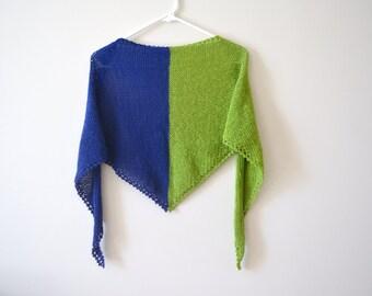 Cotton Hand Knit Green and Blue Shawl, Wedding Shawl, Bridal Shawl, Shrug, Wrap