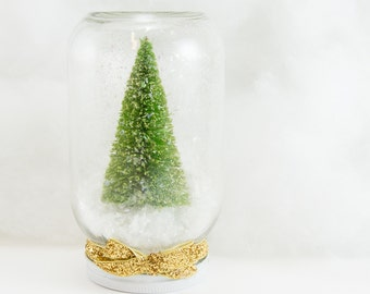 Lime Green and Gold Dry Snowglobe Pint Jar Sparkly Home Decor Christmas Glitter Glimmer Snow Waterless