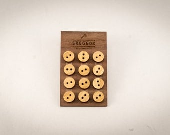 12 small wooden buttons, for mens shirt, walnut, for groom and groomsmans