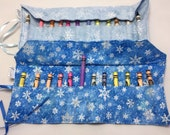 Snowflake frozen water print fabric 12 crayon roll flap lid Great for kids  children pop in your bag. Gift present stocking filler.