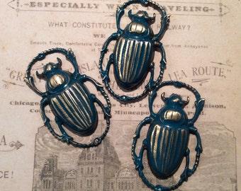 Beetle teal patina brass insect flourish 3pc