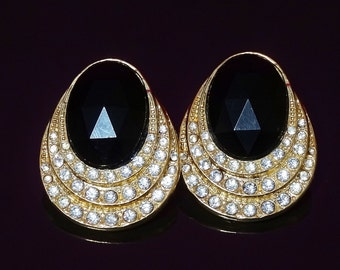 Vintage Oval Earrings Jet Black Faceted Centre in Gold Tone w Three rows of Curved Ice Rhinestones Pierced Evening Party Pair Glamorous