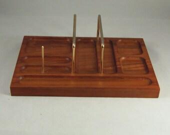 Vintage, dresser top valet, desk organizer, walnut