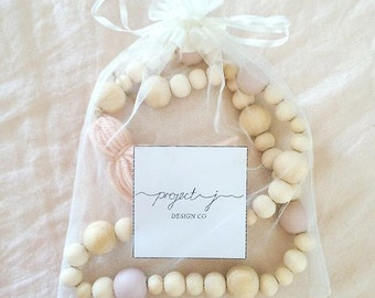 Wooden Bead Garland // Baby // Baby Shower Gift // Nursery Decor // Living Room Decor