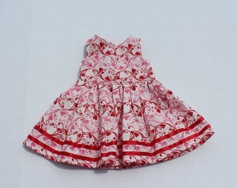 18 inch Doll Dress, AG Doll Dress, Red and White Cotton Dress