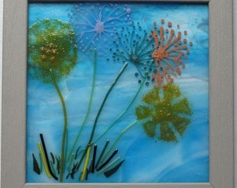 Fused glass wall art, Glass art, Fused glass art, Glass wall art, wall hanging, New home present gift, Dandelion picture, Dandelion art