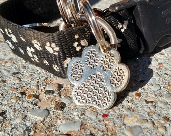 small gold flower of life pet charm cat kitten dog puppy sacred geometry electric forest pet bling shakedown goods