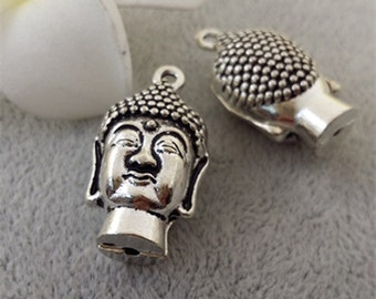 50pcs 12x15x28mm antique silver 3D buddha charm pendants MF1568