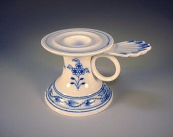 Antique Meissen Blue Onion Miserly Candlestick Holder Rare