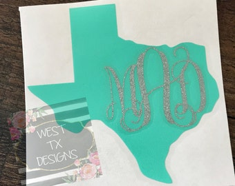 Texas Monogram | Texas Decal | Yeti Decal | Car Decal | Tumbler Decal | Vinyl Decal | Monogrammed Decal