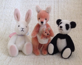 Artist Companion Animals for Little Darling Doll 13 Inch, Effner Bunny, Panda, Kangaroo mommy and baby