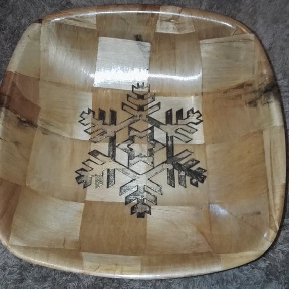 Christmas Snowflake hand painted engraved NATURAL bamboo wooden bowl unique fruit / egg basket / nic naks table decor #christmas