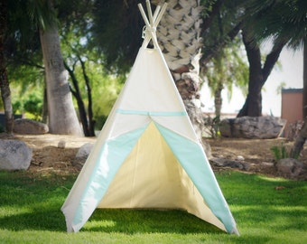 Two-tone canvas kids teepee / kids play tent/canvas Tipi with overlapping front doors