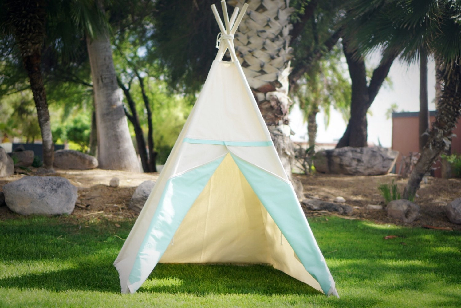 Two tone canvas kids teepee kids play tent canvas Tipi with