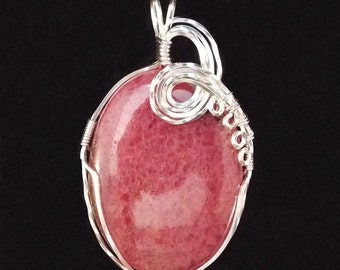 Pink Rhodonite Sterling Silver Wire-Wrapped Pendant with chain included - item #914