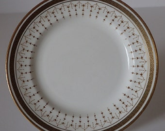 Vintage White China Side or Tea Plate with Black and Gold Greek Key Design