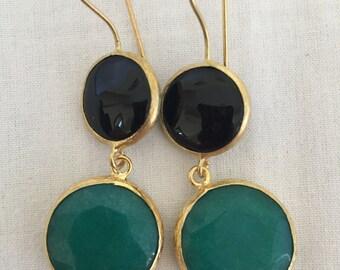 Black Opal and Jade Earrings