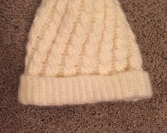 Cabled crochet beanie