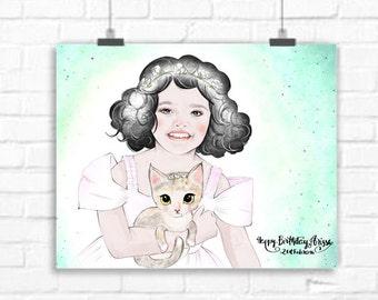 Baby custom portrait - Baby girl smile - Watercolor